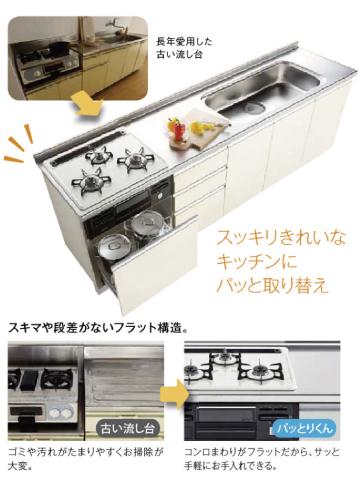 スッキリ きれいな キッチンに パッと取り替え